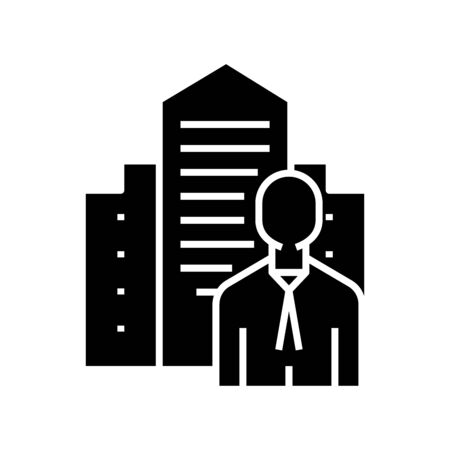 Business worker black icon, concept illustration, vector flat symbol, glyph sign. 일러스트