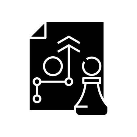 Chess decision black icon, concept illustration, vector flat symbol, glyph sign.