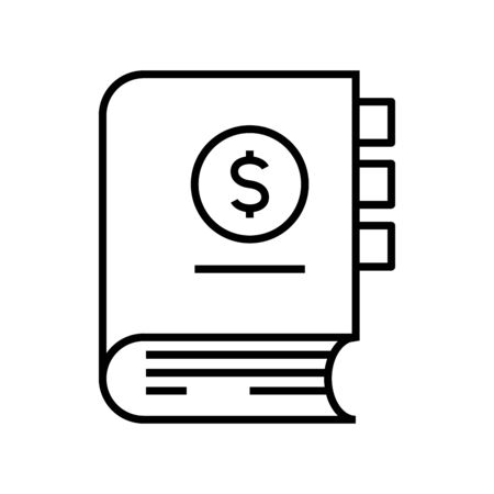 Income book line icon, concept sign, outline vector illustration, linear symbol. 向量圖像