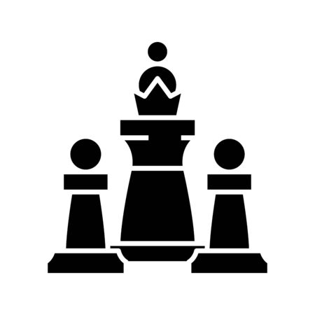 Chess game black icon, concept illustration, vector flat symbol, glyph sign.