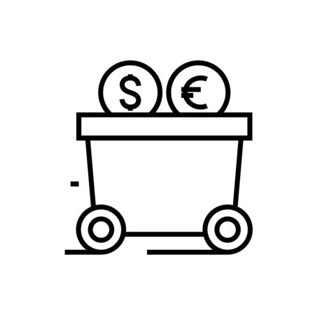 Industry income line icon, concept illustration, outline symbol, vector sign, linear symbol. 向量圖像