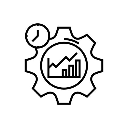 Increasing chart line icon, concept illustration, outline symbol, vector sign, linear symbol.