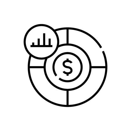 Income chart line icon, concept illustration, outline symbol, vector sign, linear symbol.