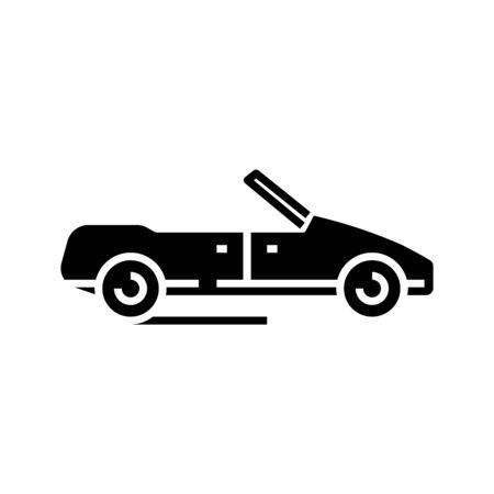 Cabriolet black icon, concept illustration, vector flat symbol, glyph sign.