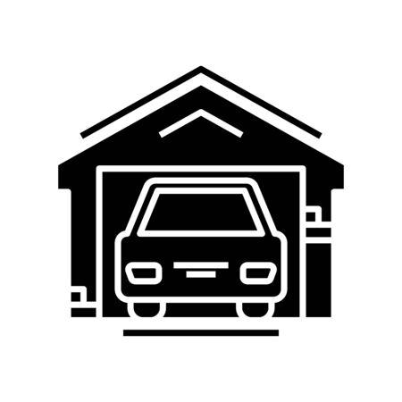 Car garage black icon, concept illustration, glyph symbol, vector flat sign. 向量圖像