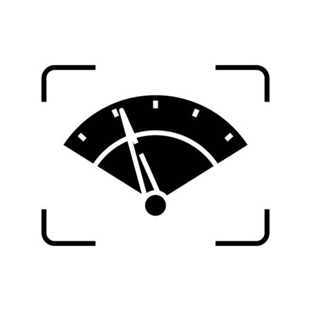 Choronometer black icon, concept illustration, glyph symbol, vector flat sign.
