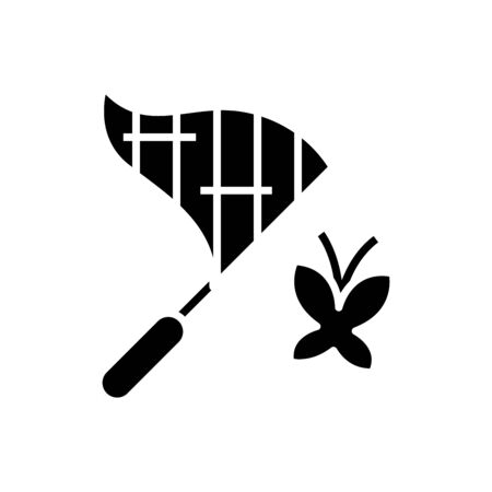 Butterfly net black icon, concept illustration, glyph symbol, vector flat sign. 向量圖像