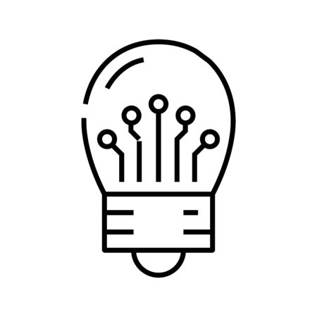 Idea generation line icon, concept illustration, outline symbol, vector sign, linear symbol. 일러스트