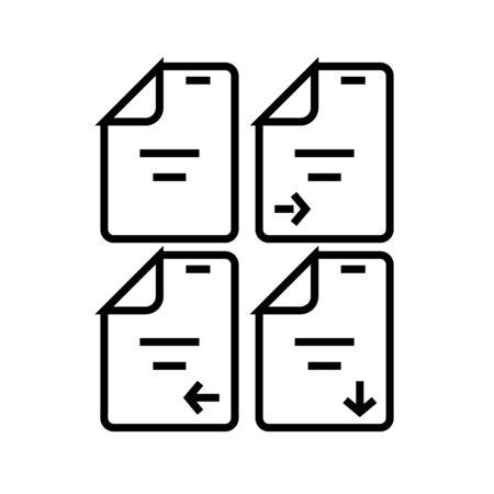 Info transfer line icon, concept illustration, outline symbol, vector sign, linear symbol.
