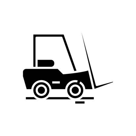 Cargo car black icon, concept illustration, vector flat symbol, glyph sign.