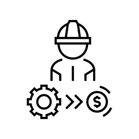 Industrial employee line icon, concept illustration, outline symbol, vector sign, linear symbol.