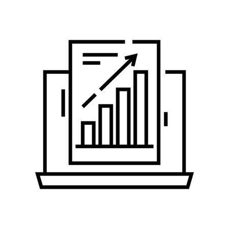 Increasing data line icon, concept sign, outline vector illustration, linear symbol. 일러스트