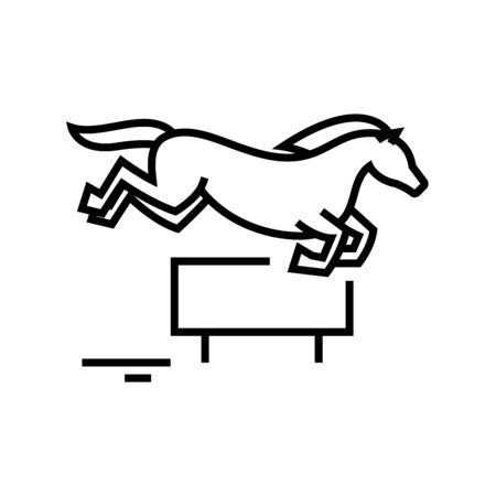 Horse jumping line icon, concept sign, outline vector illustration, linear symbol.
