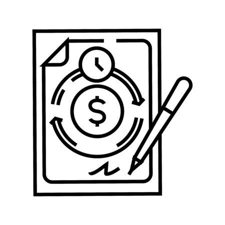 Income scheme line icon, concept sign, outline vector illustration, linear symbol.