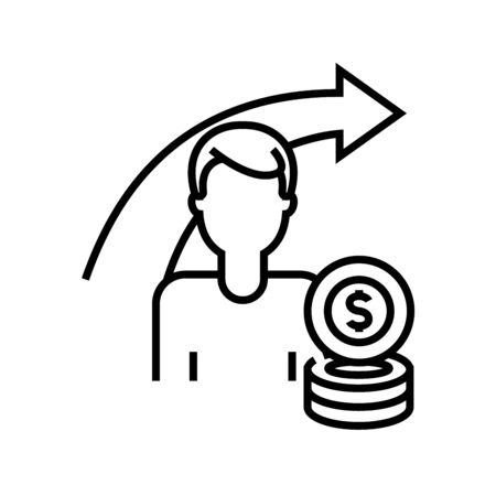 Increasing salary line icon, concept sign, outline vector illustration, linear symbol. 向量圖像