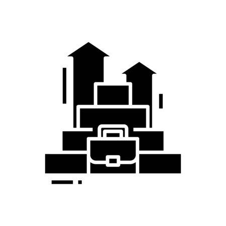 Career rising black icon, concept illustration, glyph symbol, vector flat sign.