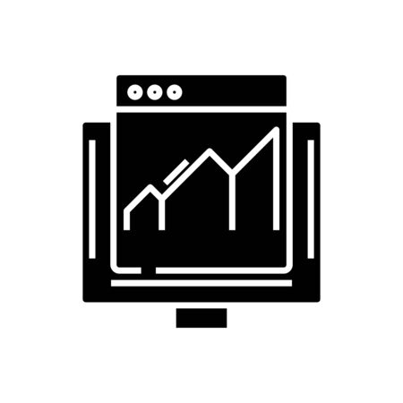 Chart black icon, concept illustration, vector flat symbol, glyph sign.