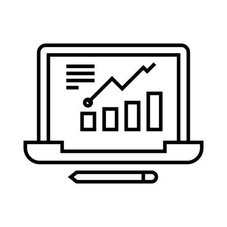 Graphic data line icon, concept sign, outline vector illustration, linear symbol. Иллюстрация