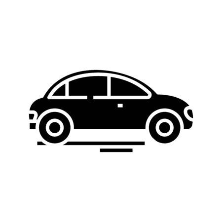 Car concept black icon, concept illustration, glyph symbol, vector flat sign.