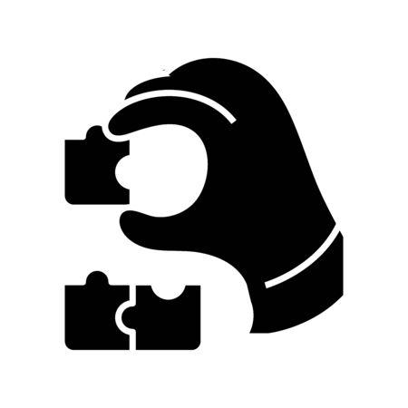 Business puzzle black icon, concept illustration, glyph symbol, vector flat sign.
