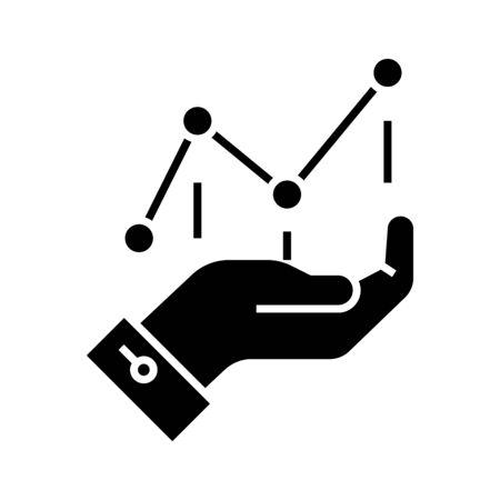Charting black icon, concept illustration, glyph symbol, vector flat sign.