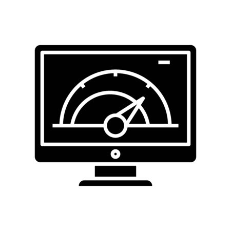 Calculating system black icon, concept illustration, vector flat symbol, glyph sign.