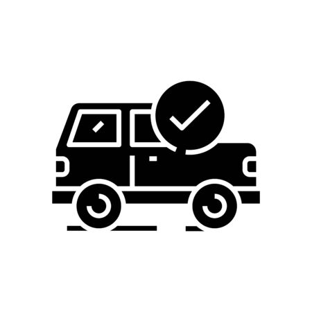 Car preparation black icon, concept illustration, glyph symbol, vector flat sign. 向量圖像