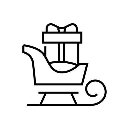 Gift sledge line icon, concept illustration, outline symbol, vector sign, linear symbol.