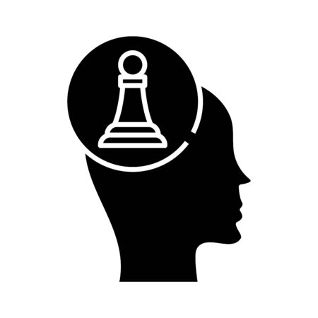 Chess player black icon, concept illustration, glyph symbol, vector flat sign.