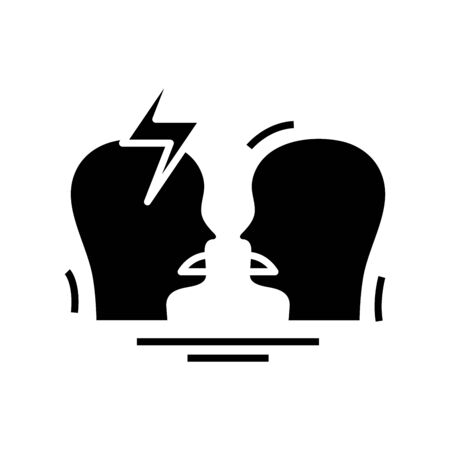 Conflict situation black icon, concept illustration, vector flat symbol, glyph sign.