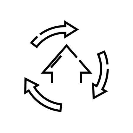 Moving task line icon, concept illustration, outline symbol, vector sign, linear symbol. Çizim