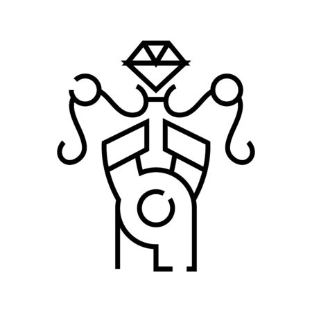 Jewellery work line icon, concept sign, outline vector illustration, linear symbol.