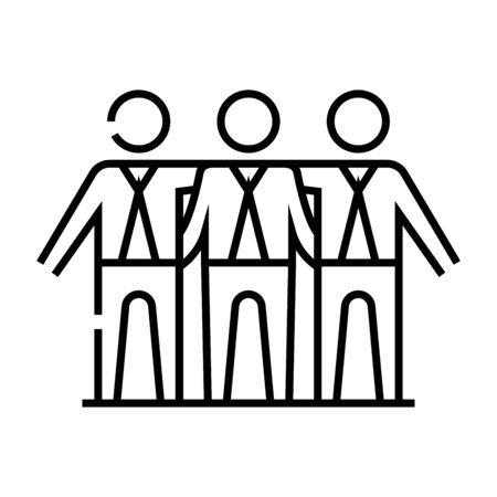 Participants line icon, concept illustration, outline symbol, vector sign, linear symbol. Illustration
