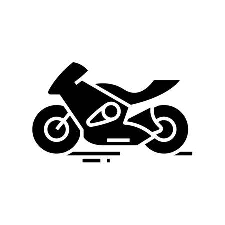 Fast motobike black icon, concept illustration, vector flat symbol, glyph sign.