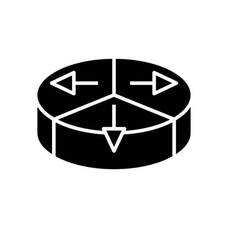 Division black icon, concept illustration, vector flat symbol, glyph sign.