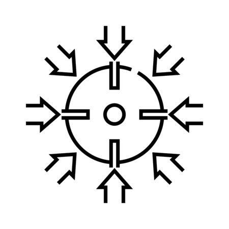 One aim line icon, concept sign, outline vector illustration, linear symbol. Vector Illustratie
