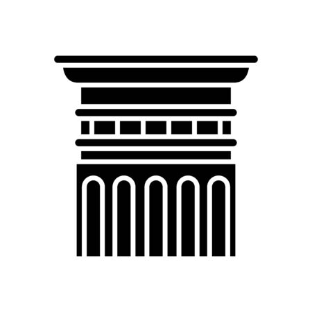 Doric order black icon, concept illustration, vector flat symbol, glyph sign. Vettoriali