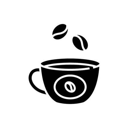 Coffe cup black icon, concept illustration, vector flat symbol, glyph sign.