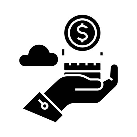 Counting money black icon, concept illustration, glyph symbol, vector flat sign.