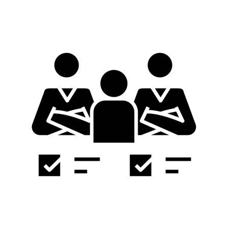 Collective tasks black icon, concept illustration, glyph symbol, vector flat sign. Illustration