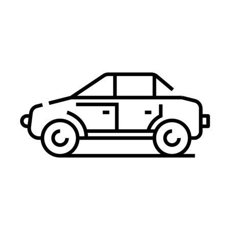 Icône de ligne Jeep, signe de concept, illustration vectorielle de contour, symbole linéaire.