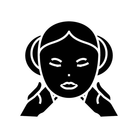 Facial care black icon, concept illustration, vector flat symbol, glyph sign.