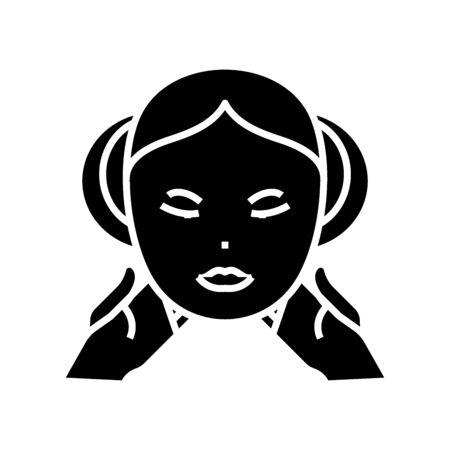 Facial care black icon, concept illustration, vector flat symbol, glyph sign. Banco de Imagens - 141220354