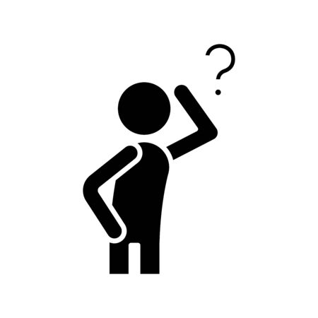 Difficult question black icon, concept illustration, glyph symbol, vector flat sign.