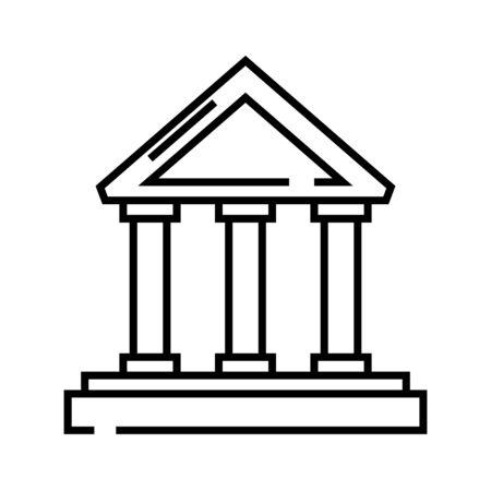 Judgement hall line icon, concept sign, outline vector illustration, linear symbol.