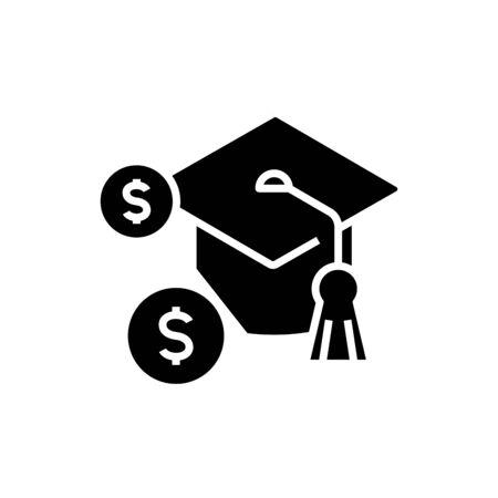Education fee black icon, concept illustration, glyph symbol, vector flat sign.