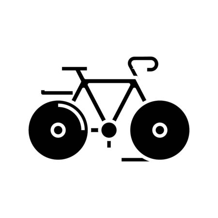 Cycling around black icon, concept illustration, vector flat symbol, glyph sign. 向量圖像