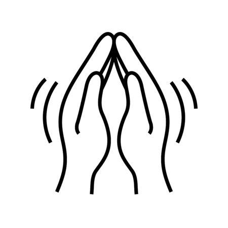 Palms combined together line icon, concept illustration, outline symbol, vector sign, linear symbol.