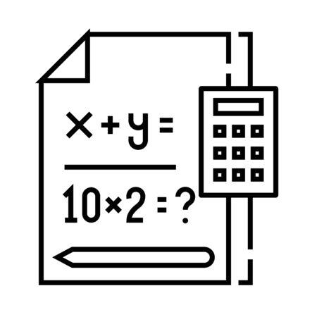 Mathematical equation line icon, concept sign, outline vector illustration, linear symbol. Ilustración de vector