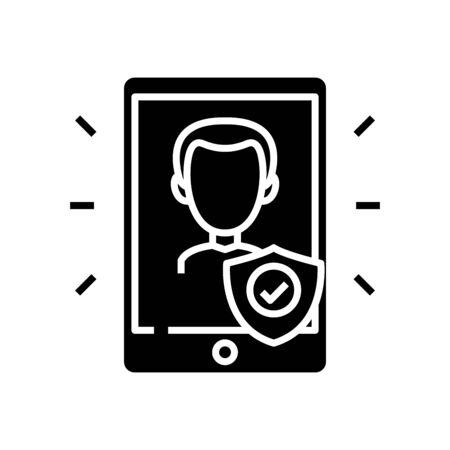 Confidentiality black icon, concept illustration, vector flat symbol, glyph sign.
